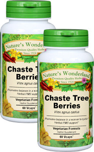 Chaste Tree Berries Capsules - 550 mg, 60 Veg Capsules each (Vitex agnus-castus)
