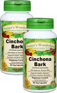 Cinchona Bark Capsules - 525 mg, 60 Veg Caps each (Cinchona succirubra)