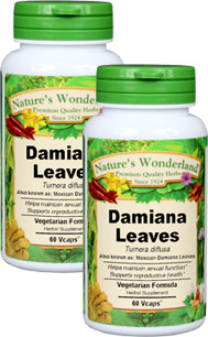 Damiana Capsules - 475 mg, 60 Vcaps™ each (Turnera diffusa)