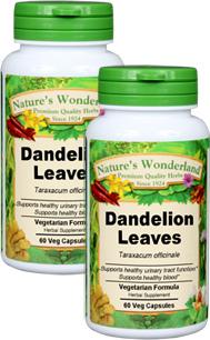 Dandelion Leaf Capsules - 550 mg, 60 Veg Capsules each (Taraxicum officinale)
