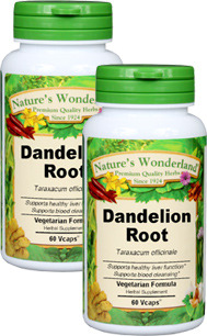 Dandelion Root Capsules - 550 mg, 60 Vcaps™ each (Taraxicum officinale)