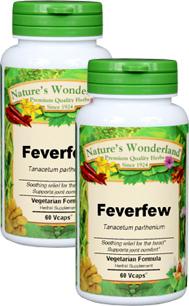 Feverfew Capsules - 400 mg, 60 Veg Capsules each (Tanacetum parthenium)