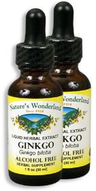 Ginkgo Extract, Alcohol Free, 1 fl oz / 30 ml each (Nature's Wonderland)
