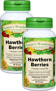 Hawthorn Berry Capsules - 625 mg, 60 Veg Capsules each (Crataegus oxyacantha)