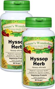 Hyssop Herb Capsules - 500 mg, 60 Veg Capsules each (Hyssop officinalis)