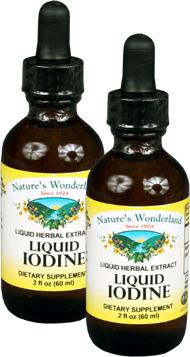 Liquid Iodine (Potassium Iodide) - 150 mcg, 2 fl oz / 60 ml each (Nature's Wonderland)