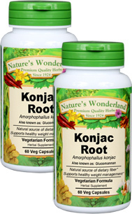 Konjac Root Capsules - 650 mg, 60 Veg Capsules each (Amorphophallus konjak)