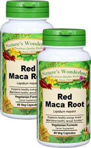 Maca Root, Red, Capsules, Organic 60 Veg Capsules each (Lepidium meyenii)