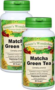Matcha Green Tea Capsules - 575 mg, 60 Veg Capsules each (Camellia sinensis)