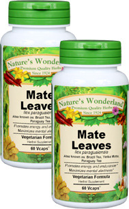 Yerba Mate Capsules - 525 mg, 60 Veg Capsules each (Ilex paraguariensis)