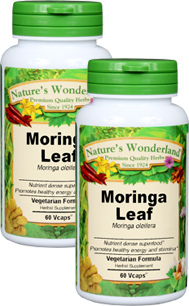Moringa Leaf Capsules - 475 mg, 60 Vcaps each (Moringa oleifera)