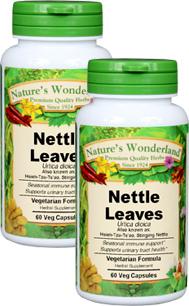 Nettle Leaves Capsules - 525 mg, 60 Veg Capsules each (Urtica dioica)