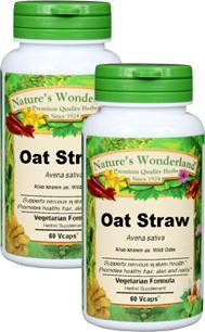 Oat Straw Capsules - 300 mg, 60 Veg Capsules each (Avena sativa)