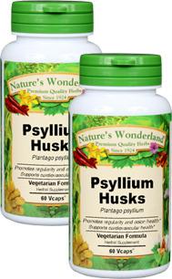 Psyllium Husks Capsules - 750 mg, 60 Veg Capsules each (Plantago psyllium)