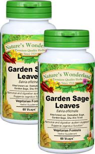 Garden Sage Capsules - 425 mg, 60 Veg Capsules each (Salvia officinalis)