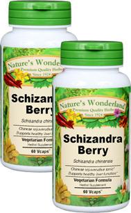 Schizandra Berry Capsules - 650 mg, 60 Veg Capsules each (Schisandra chinensis)