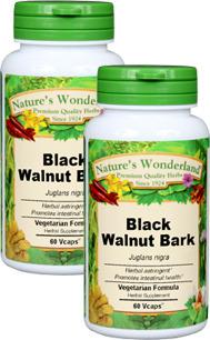Black Walnut Bark Capsules - 475 mg, 60 Veg Capsules each (Juglans nigra)