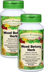 Wood Betony Herb Capsules, Organic - 350 mg, 120 Veg Caps each (Betonica officinalis)  each (Betonica officinalis)
