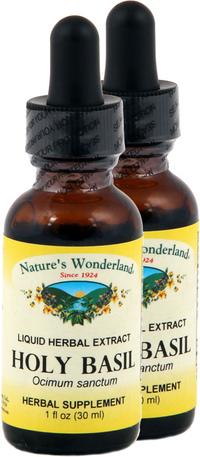 Holy Basil Liquid Extract - Organic, 1 fl oz each (Nature's Wonderland)