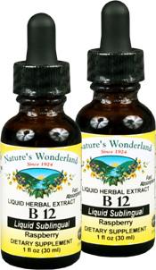Vitamin B-12 Liquid Raspberry, 1 fl oz / 30ml each (Nature's Wonderland)