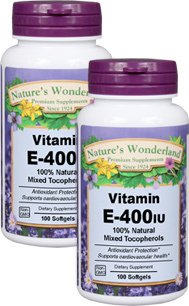 Vitamin E / Mixed Tocopherols - 400 IU, 100 softgels each (Nature's Wonderland)