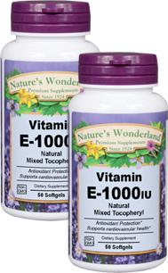 Vitamin E Mixed Tocopherols - 1,000 IU 50 softgels each (Nature's Wonderland)