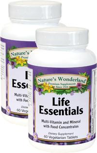 Life Essentials Multivitamin, 60 Vegetarian Tablets each (Nature's Wonderland)