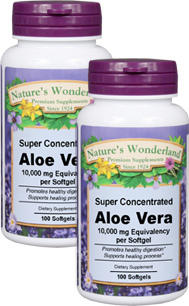 Aloe Vera - 10,000 mg equivalency, 100 softgels each (Nature's Wonderland)