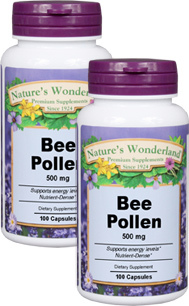Bee Pollen - 500 mg, 100 capsules each (Nature's Wonderland)