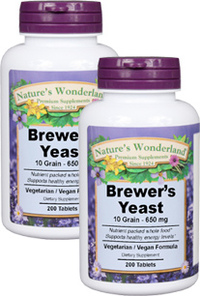 Brewer's Yeast Tablets - 650 mg, 200 vegetarian tablets each (Nature's Wonderland)