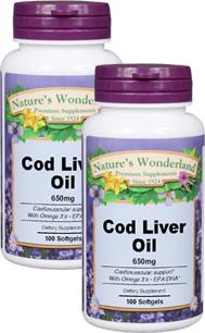 Cod Liver Oil - 650 mg, 100 softgels each (Nature's Wonderland)
