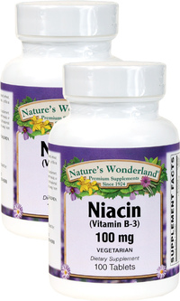 Niacin (B-3) 100 mg, 100 Vegetarian Tablets each (Nature's Wonderland)