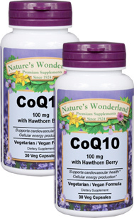 CoQ10 with Hawthorn Berry - 100 mg, 30 Vcaps™ each (Nature's Wonderland)