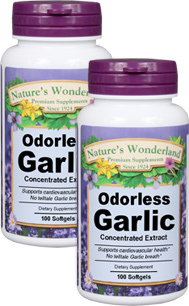 Garlic Extract, Odorless - 25 mg, 100 softgels each (Nature's Wonderland)