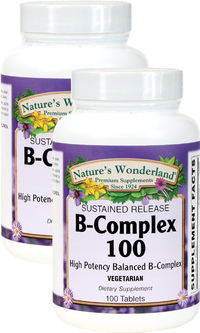 B-100 (B Complex) Sustained Release, 100 Vegetarian Tablets each (Nature's Wonderland)