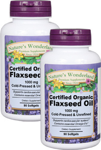 Flax Seed Oil Capsules, Organic - 1000 mg, 90 softgels each (Nature's Wonderland