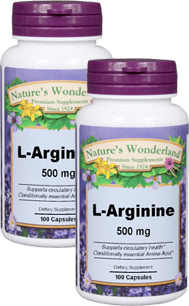 L-Arginine Capsules - 500 mg, 100 capsules each (Nature's Wonderland)