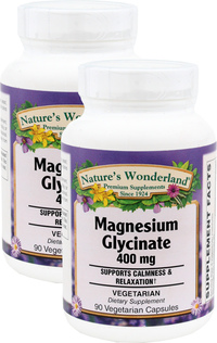 Magnesium Glycinate - 400 mg, 90 vegetarian capsules each (Nature's Wonderland)