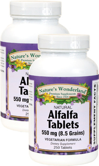 Alfalfa Tablets - 550 mg, 250 Vegetarian Tablets each (Nature's Wonderland)