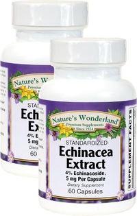 Echinacea Standarized Extract - 5 mg, 60 Capsules each (Nature's Wonderland)