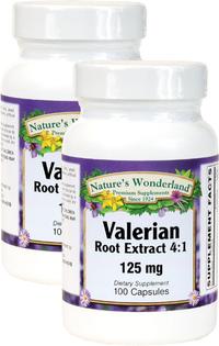 Valerian Root Extract 4:1 125 mg, 100 Capsules each (Nature's Wonderland)