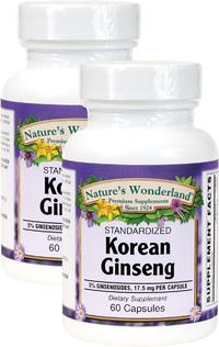 Korean Ginseng Standardized Extract, 60 Capsules each (Nature's Wonderland)