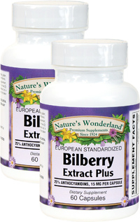 Bilberry Standardized Extract Plus - 60 mg, 60 Capsules each (Nature's Wonderland)