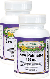 Saw Palmetto Standardized Extract - 160 mg, 60 Softgels each (Nature's Wonderland)