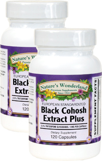 Black Cohosh Plus Standardized Extract - 40 mg, 120 Capsules each (Nature's Wonderland)