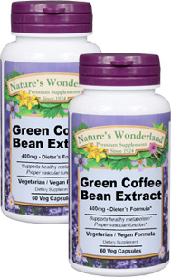 Green Coffee Bean Extract - 400 mg, 60 Veg capsules each Buy One, Get One For 99 Cents! (Nature' Wonderland)