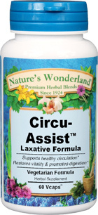 Circu Assist™ Laxative - 525 mg,  60 Veg Capsules (Nature's Wonderland)