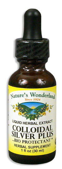 Colloidal Silver Plus Liquid - 15 ppm, 1 fl oz / 30ml (Nature's Wonderland)