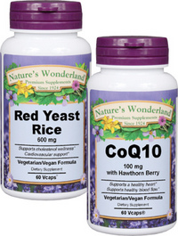 Cholesterol Support Combo: Red Yeast Rice, 60 Vcaps - 600 mg + CoQ10, 30 Vcaps - 100mg