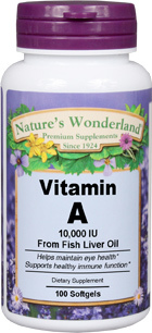 Vitamin A 10,000 IU 100 softgels (Nature's Wonderland)